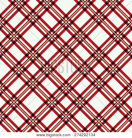 Menzies Tartan Red Kilt Diagonal Fabric Texture Seamless Pattern.vector Illustration. Eps10.