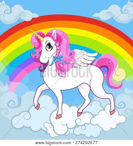 Multicolor Vector Cartoon Kids Illustration Of White Pony Unicorn Princess Character With Big Eyes,