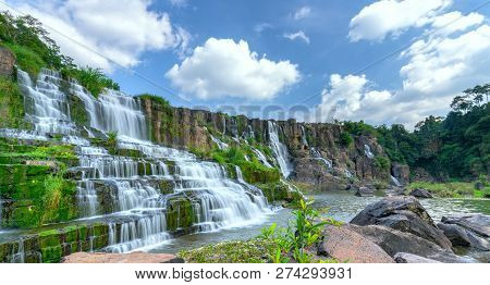Mystical Waterfall In The Da Lat Plateau, Vietnam. This Is Known As The First Southeast Asian Waterf