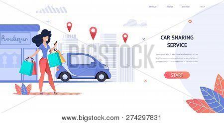Illustration Rent A Car Using Mobile Application. Banner Vector Image Young Girl Enjoys Car Sharing