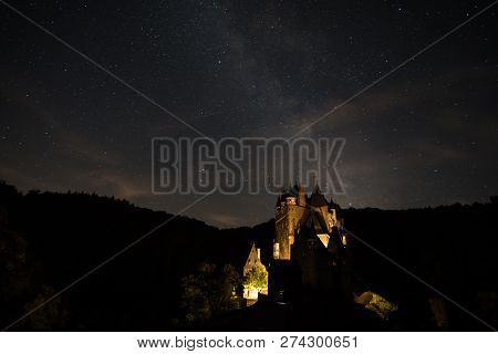 Milky Way With Castle Eltz In Germany
