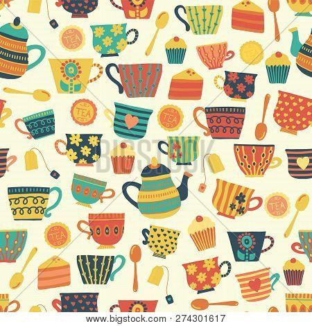 Tea Time Vector Seamless Pattern Background Beige. Tea Cups, Teapot, Spoons, Cupcakes. Hand Drawn Mu