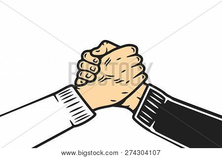 Soul Brother Handshake, Thumb Clasp Handshake Or Homie Handshake, Cartoon Style On Isolated White Ba