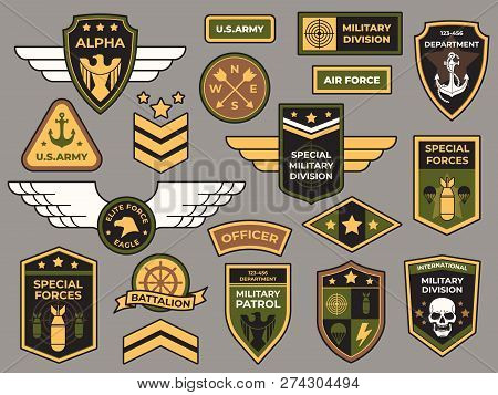 Army Badges. Military Patch, Air Force Captain Sign And Paratrooper Insignia Badge Vector Patches Se