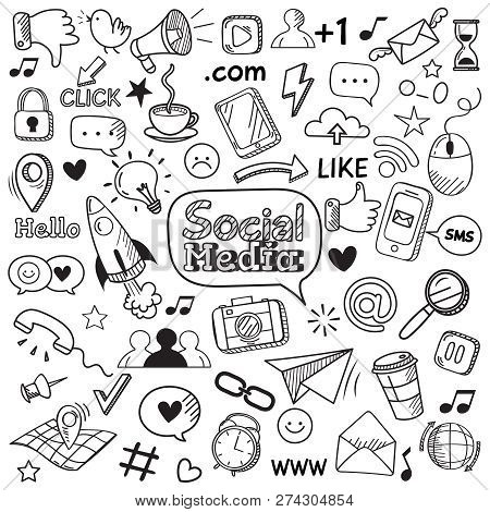 Social Media Doodle. Internet Website Doodles, Social Network Communication And Online Web Hand Draw
