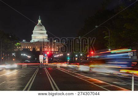 United States Capitol at night - Washington DC, United States of America