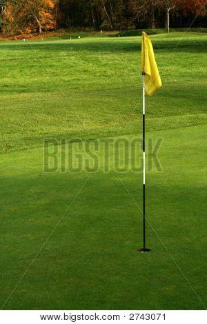 Golf Green And Yellow Flagstaff In Hole
