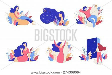Feminine Concept Illustration, Beautiful Women, Different Situations. Characters Decorated With Flow