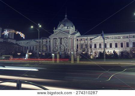 13 Dec 2018, Romania, Bucharest. Coltea Hospital In The Center Of Bucharest Romania. Christmas Time.