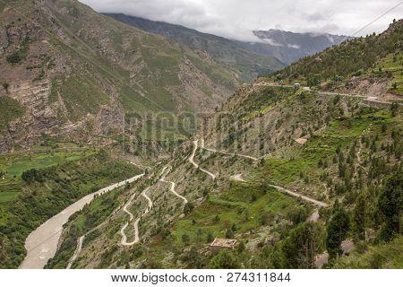 Famous place Gata loops on Manali - Leh road in Ladakh, India