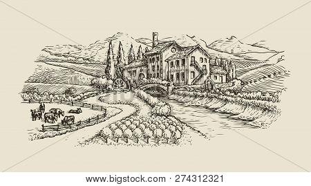 Farm Landscape, Village Sketch. Agriculture, Hand Drawn Vintage Vector Illustration