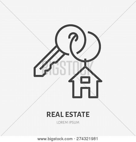 Key With Trinket House On Ring Flat Line Icon. Vector Thin Sign Of Trinket, Condo Rent Logo. Real Es