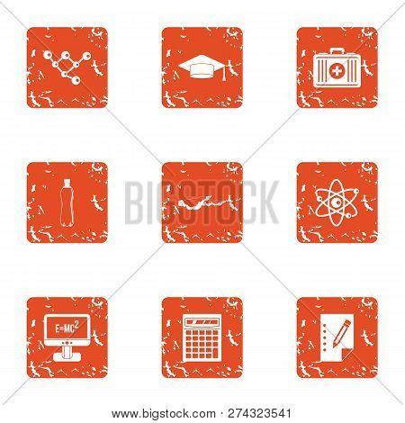 Physical Engineering Icons Set. Grunge Set Of 9 Physical Engineering Icons For Web Isolated On White