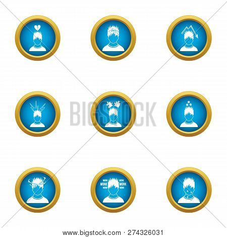 Difficult Life Icons Set. Flat Set Of 9 Difficult Life Icons For Web Isolated On White Background