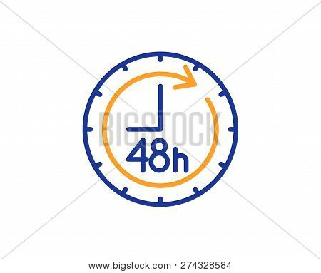 48 Hours Line Icon. Delivery Service Sign. Colorful Outline Concept. Blue And Orange Thin Line Color