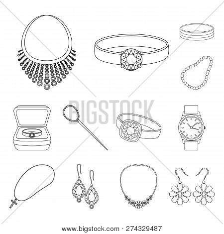 Isolated object of jewelery and necklace symbol. Collection of jewelery and pendent stock vector illustration. poster