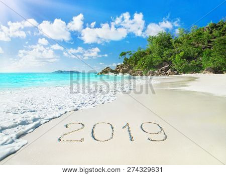 Perfect Tropical Palm Sandy Beach Anse Georgette At Praslin Island, Seychelles - Travel Vacation Sea