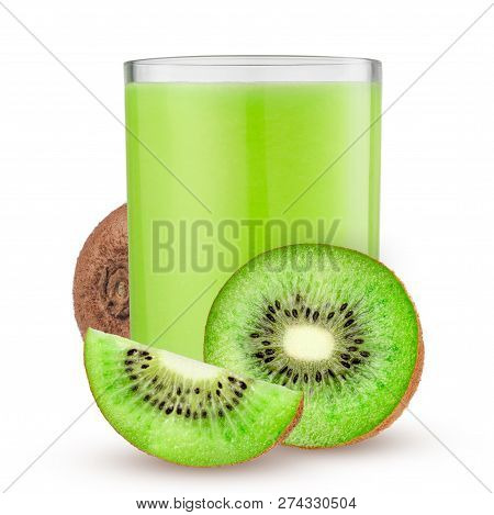 Glass Of Juice With Kiwi On A White Background