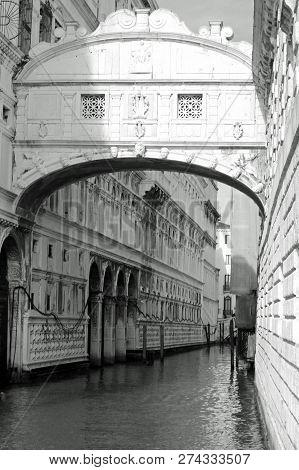 Bridge Of Sighs Called Ponte Dei Sospiri In Italian Language In Venice In Italy. The Enclosed Bridge
