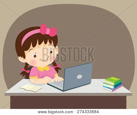 Students Girl Sitting With Laptop
