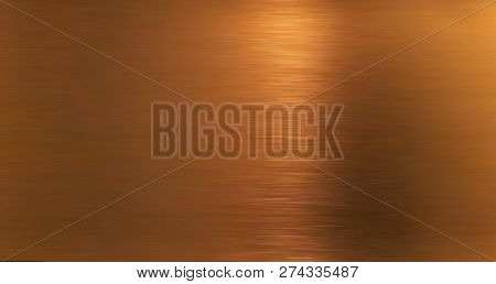 Golden Hairline Stainless. Shiny Gold Foil, Bronze, Or Copper Metal Pattern Surface Texture. Close-u