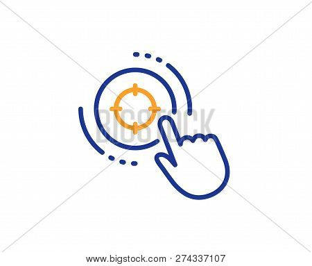 Seo Target Line Icon. Search Engine Optimization Sign. Click Aim Symbol. Colorful Outline Concept. B
