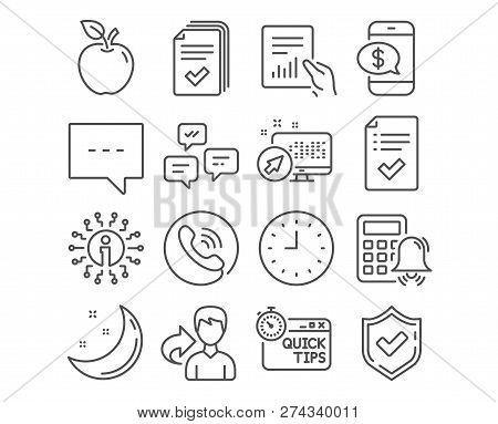 Set Of Document, Blog And Approved Checklist Icons. Quick Tips, Clock And Phone Payment Signs. Hando