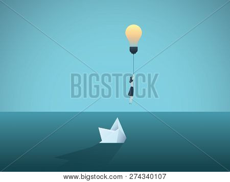 Business Idea And Creativity Vector Concept With Businesswoman Flying Away From Sinking Paper Boat.