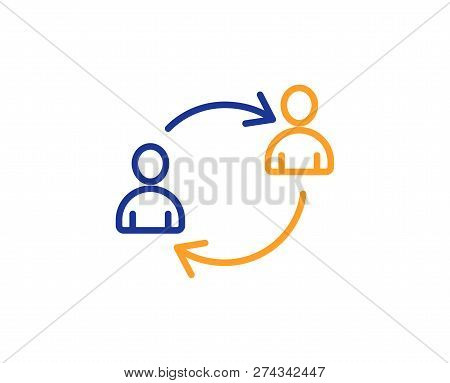 Teamwork Line Icon. User Communication Or Human Resources. Profile Avatar Sign. Person Silhouette Sy
