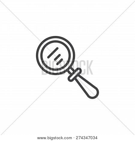 Magnifying Glass Outline Icon. Linear Style Sign For Mobile Concept And Web Design. Magnifier Simple