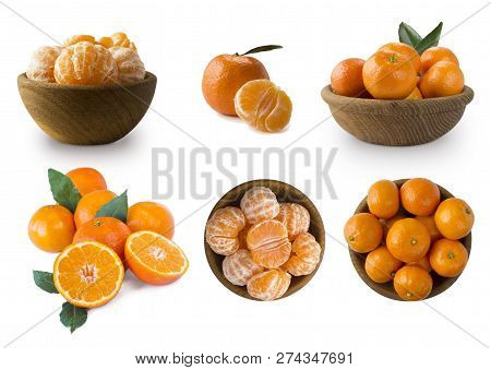 Set Of Fresh Mandarins. Ripe And Tasty Tangerines Isolated On White Background. Fresh Tangerines Wit