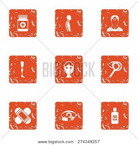 Steady State Icons Set. Grunge Set Of 9 Steady State Icons For Web Isolated On White Background