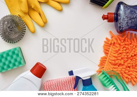 Cleaning Tools. Circle From Spray Bottle And Other Items Isolated