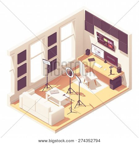 Video Blogger Or Vlogger Home Studio Workspace. Vector Isometric Room Cross-section With Acoustic Pa