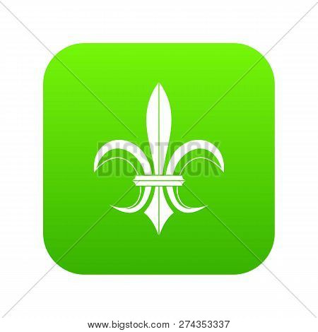 Lily Heraldic Emblem Icon Digital Green For Any Design Isolated On White Illustration