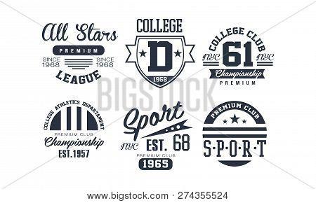 Sport College Club Logo Design Set, Vintage Premium Championship, Sport Club Emblem Or Badge Vector