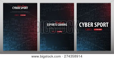 Set Of Cyber Sport Banners. Esports Gaming. Video Games. Live Streaming Game Match. Vector Illustrat