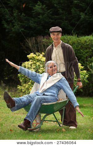funny grandparents in the garden