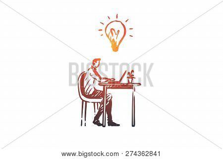 Manager, Office, Work, Person, Computer Concept. Hand Drawn Manager Working In Office With Computer