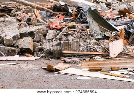 Construction Waste From The House Destroyed After The Earthquake.