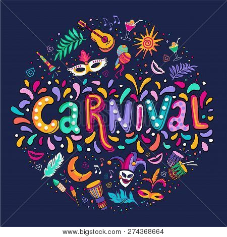 Vector Hand Drawn Carnaval Lettering. Party, Masquerade Banner. Poster, Card, Invitation. Happy Carn