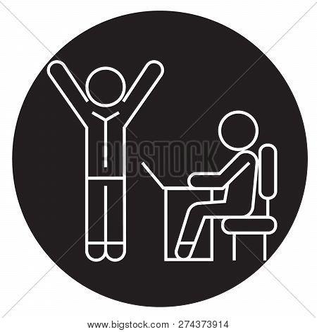 Brainstorming Process In Work Team Black Vector Concept Icon. Brainstorming Process In Work Team Fla