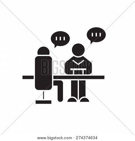Business Conversation Black Vector Concept Icon. Business Conversation Flat Illustration, Sign