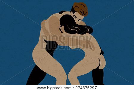 Naked Young Man And Woman Struggling, Fighting Or Confronting. Concept Of Conflict, Rivalry, Clash O