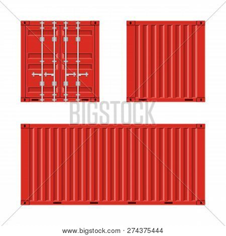 Red Cargo Container For Shipping In Flat Style. Front, Back And Side View. Transportation Container
