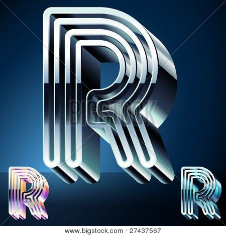 Three-dimensional ultra-modern alphabet from chrome or metal letters. Character r
