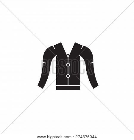Cardigan Black Vector Concept Icon. Cardigan Flat Illustration, Sign