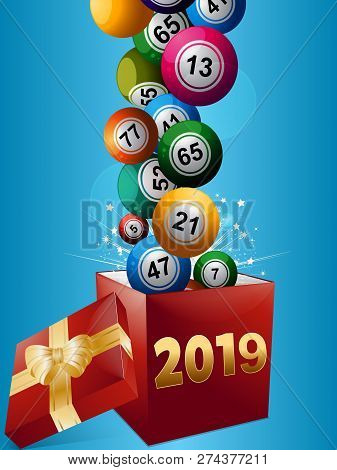3d Illustration Of Bingo Lottery Balls Popping Out From A Red Gift Box With 2019 In Numbers And Ribb