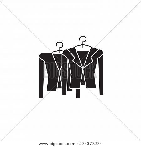 Clothing On Racks Black Vector Concept Icon. Clothing On Racks Flat Illustration, Sign