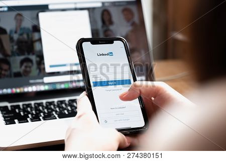 Chiang Mai, Thailand - Aug 26, 2018: Iphone X With Linkedin Application On The Screen. Linkedin Is A